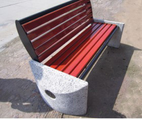休闲石材长凳椅 石木平凳图片