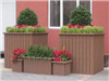 园林木制花盆图片、道路花盆设计咨询