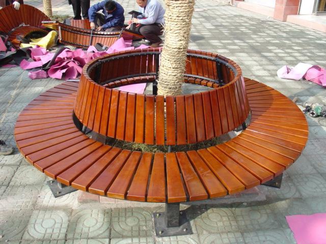防潮州防腐木围树平凳 广场围树椅厂家