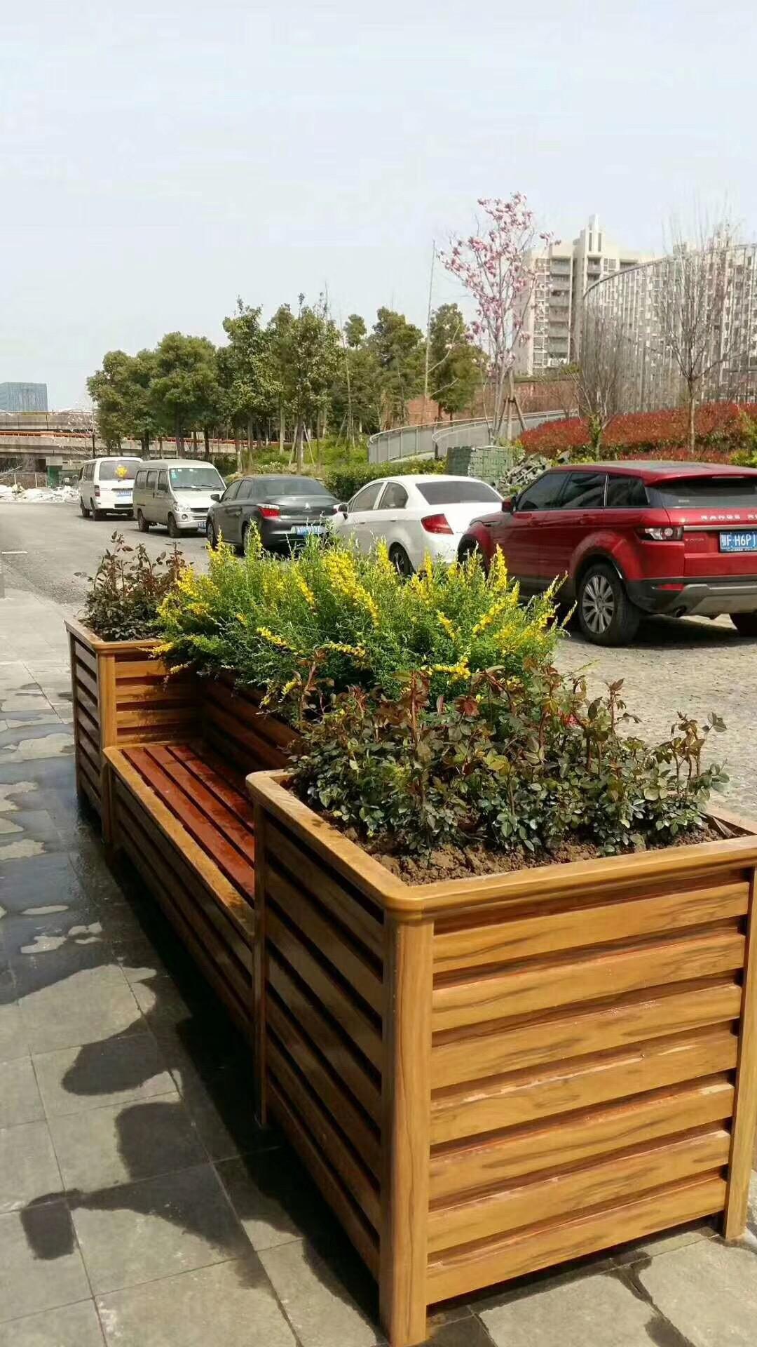 优质防腐木花槽定做 园艺花箱 景观街道落地式花箱