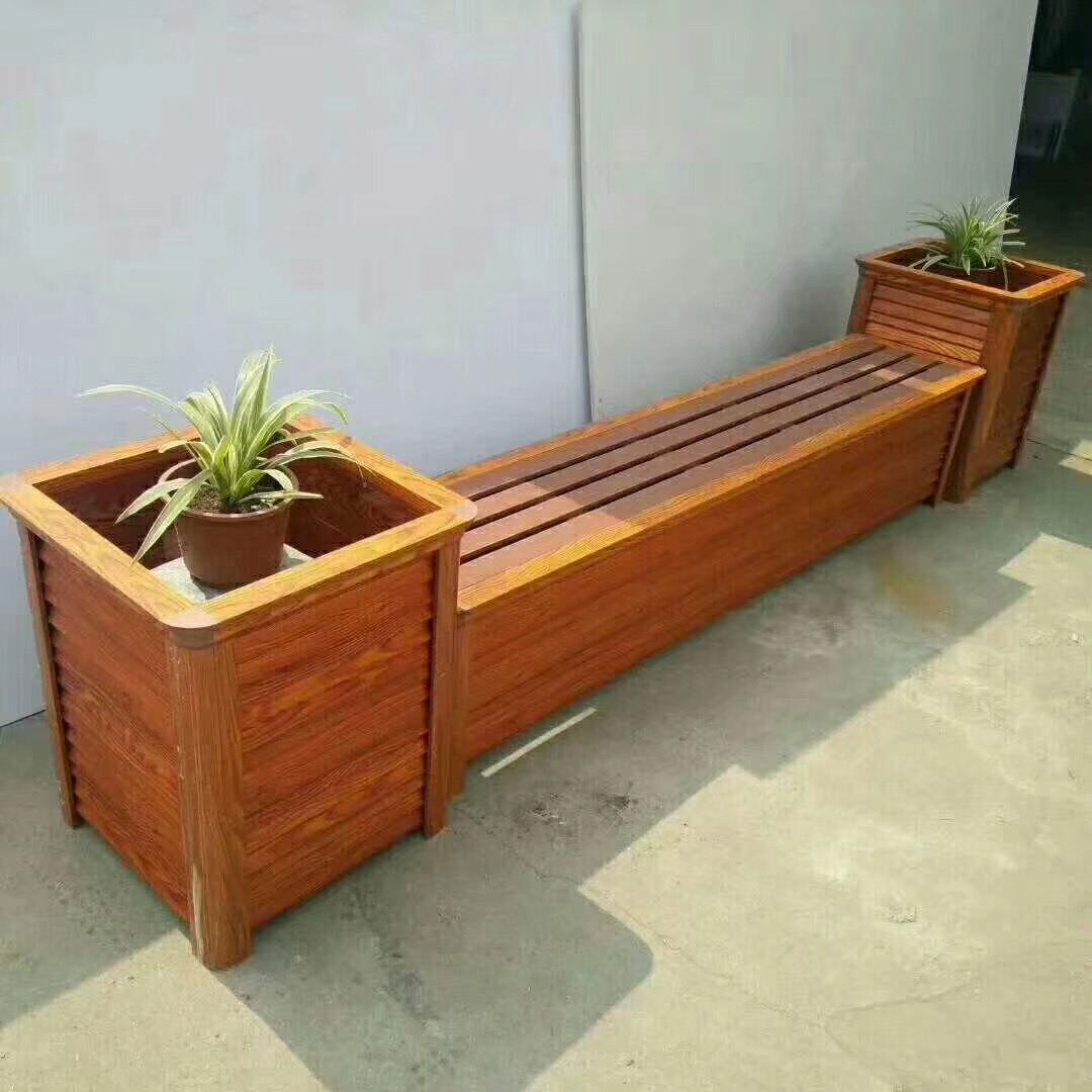 户外园艺木质花箱 景观街道落地式花箱 塑木花箱厂家
